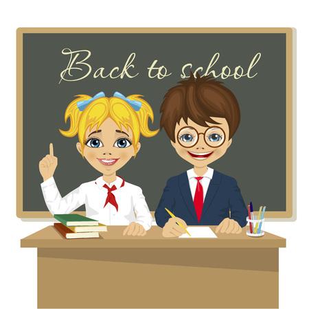 front desk: schoolkids at desk sitting in front of blackboard Illustration