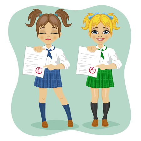 test results: illustration of young schoolgirls showing exam with good and bad test results Illustration