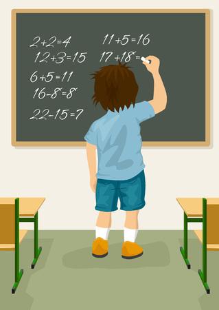 arithmetical: Back view of schoolboy solves arithmetical on a blackboard Illustration