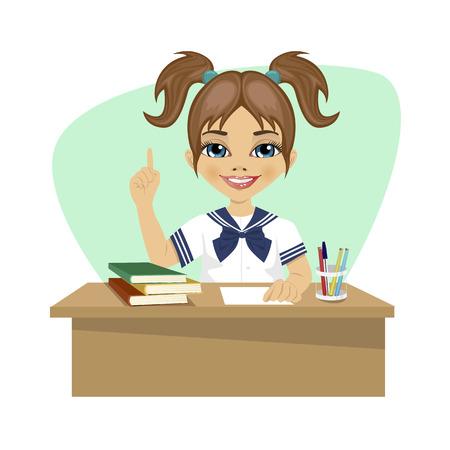 little girl sitting: cute little girl sitting at the desk having idea Illustration