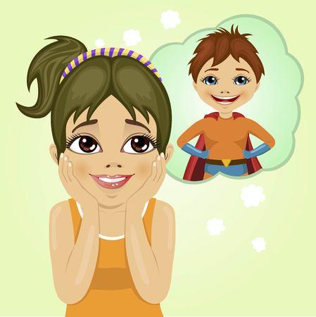 dreaming girl: cute little girl dreaming about superhero boy