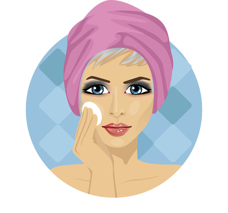 beautiful face: beautiful woman with a towel around her head cleaning her face with a sponge Illustration