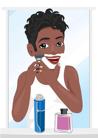 Portrait of young african american man shaving Vectores
