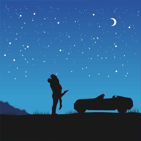 silhouette de couple dans l'amour dans ses bras debout à côté de leur voiture sous le ciel de nuit avec des étoiles et un croissant