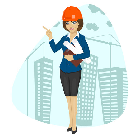 woman construction worker wearing hard hat holding blueprints and a clipboard pointing