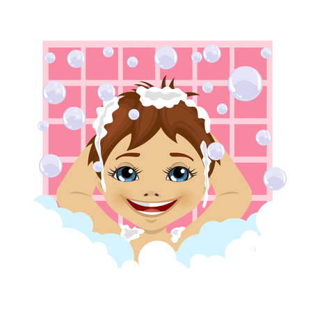 little boy washing his hair with soap foam and bubbles in the bathroom Illustration