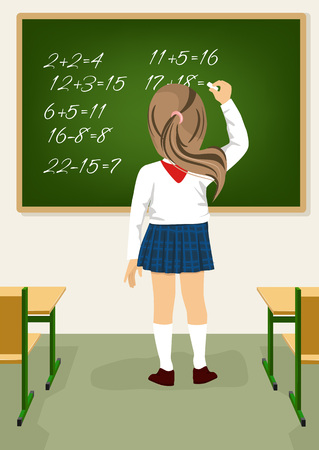 arithmetical: Back view of schoolgirl solving arithmetical on a blackboard