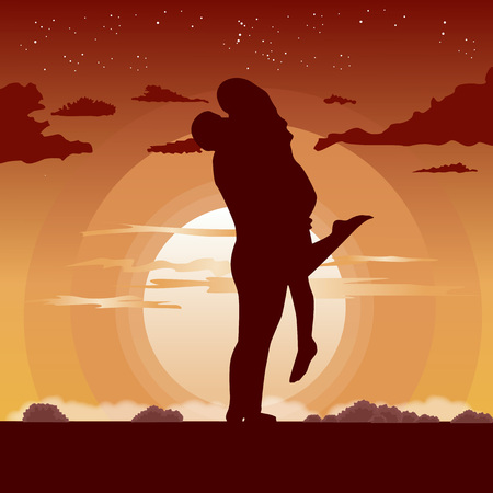 sunset beach: silhouette of loving couple in hug at the sunset Illustration