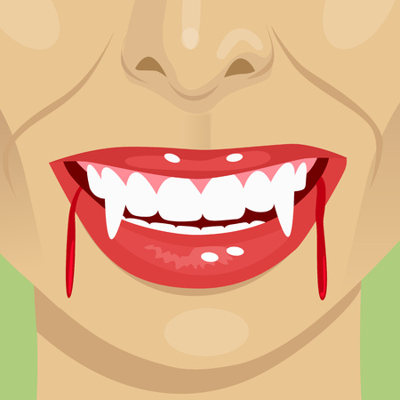 close up portrait of female vampire bloody mouth showing fangs