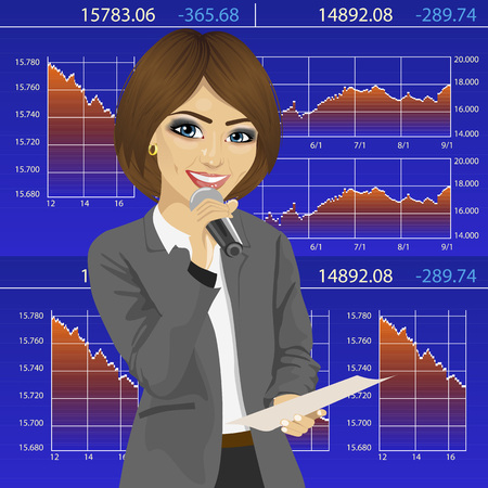 announcer: Female announcer with a microphone and exchange graph chart data report