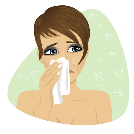 blowing nose: Woman with flu or an allergy sneezing into her handkerchief Illustration