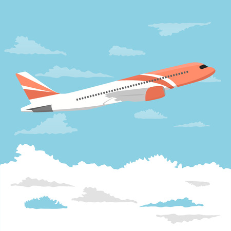 Big passenger airplane flying over cloudy sky. Vector illustration