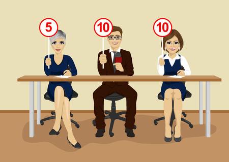 Gruppe Wirtschaftler in der Konferenz zeigt Scorekarten Standard-Bild - 63820124