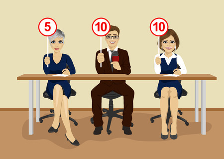 Group of businesspeople in conference showing score cards