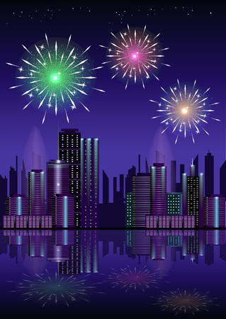 water reflection: Firework over city at night with reflection in the water