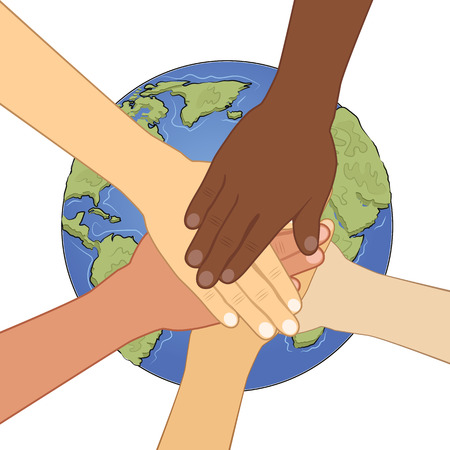 multiracial: group of multiracial human hands together over the earth Illustration