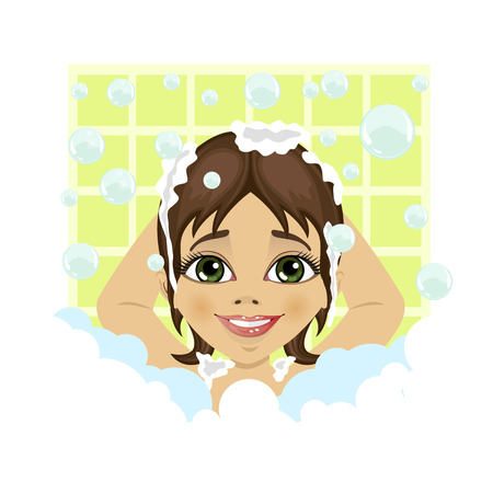 little girl bath: little cute girl washing her hair with soap foam and bubbles in the bathroom Illustration