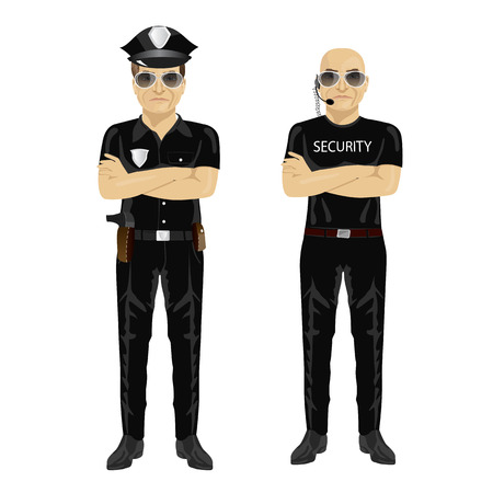arms folded: security and police guards standing with arms folded isolated on white background Illustration