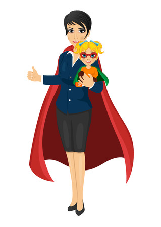 supermom: super hero mom in business suit holding her daughter with her hands and showing thumbs up on white background