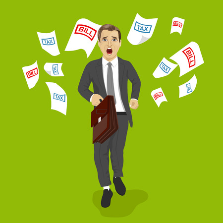evade: businessman with a briefcase running away from tax and bill papers