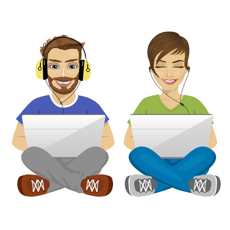 young man and woman sitting on floor with headphones and laptop gaming isolated over white background Illustration
