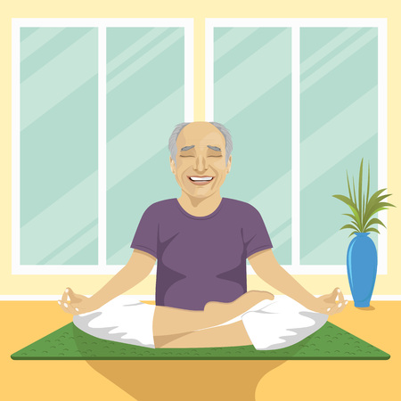 freetime: senior man doing yoga exercises in lotus position sitting on a mat