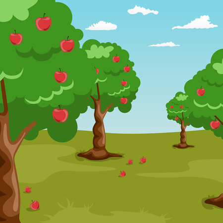 orchard: Trees with red apples in an orchard