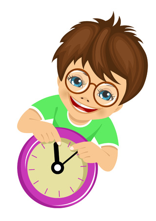 little boy showing with glasses arrows on the wall clock isolated over white background Illustration