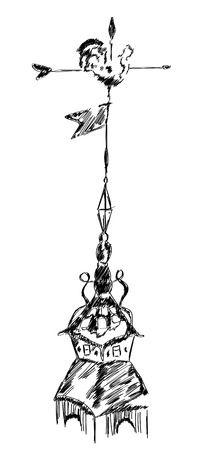 weathercock: sketch of an old chicken metal weather vane, wind vane, or weathercock on top roof, hand drawn illustration