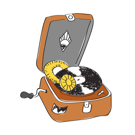 color sketch of record player with vinyl record isolated on a white Illustration