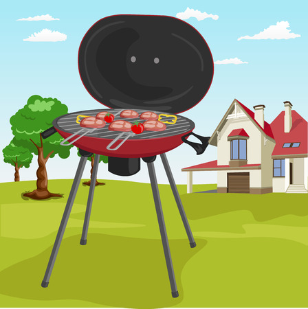 garden stuff: Grilling theme with barbecue stuff in a garden with classic cottage