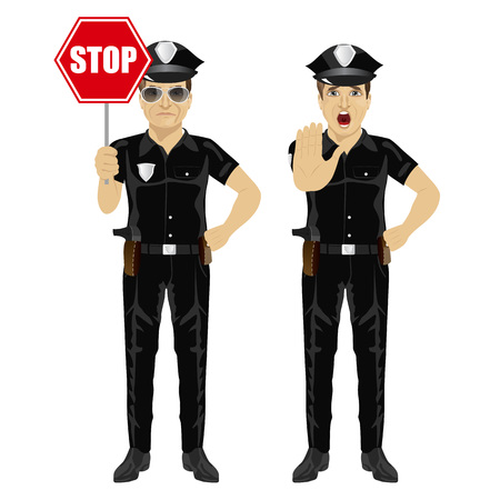 two policemen holding stop sign and showing stop gesture isolated over white background