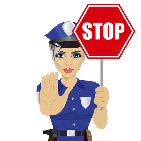 femme policier: young policewoman holding stop sign and showing stop gesture over white background