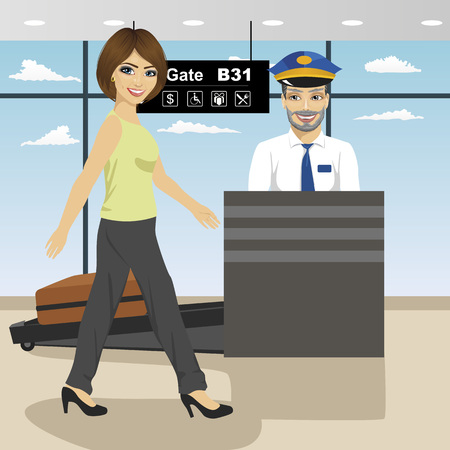 x ray machine: young woman passes security check control while policeman inspects a baggage with x ray machine