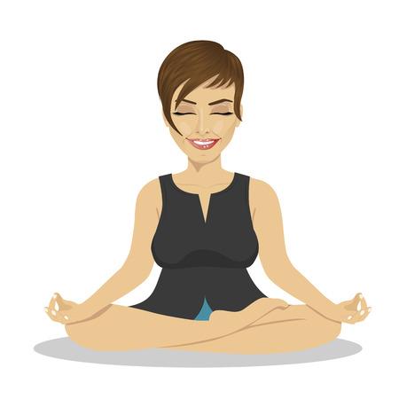 meditating: Calm businesswoman meditating in lotus pose on white background