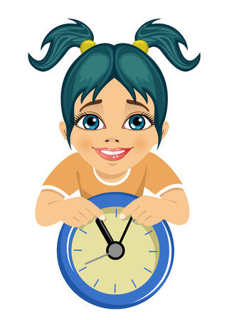 little cute girl showing arrows on the wall clock isolated over white background Illustration
