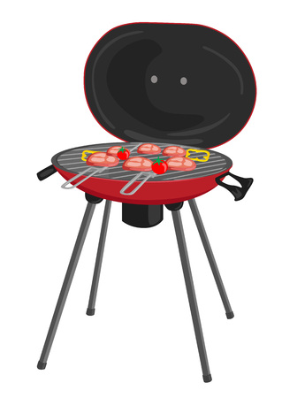 portable barbecue with meat, tomatos and peppers grilling over the coals over white background Illustration