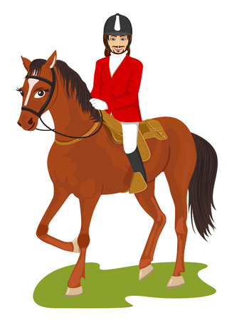 jonge knappe man met een paard geïsoleerd op een witte achtergrond Vector Illustratie