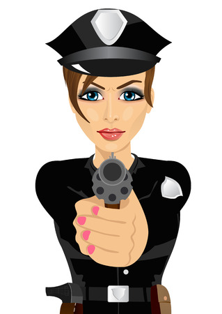 policewoman: young policewoman holding a revolver gun isolated over white background Illustration