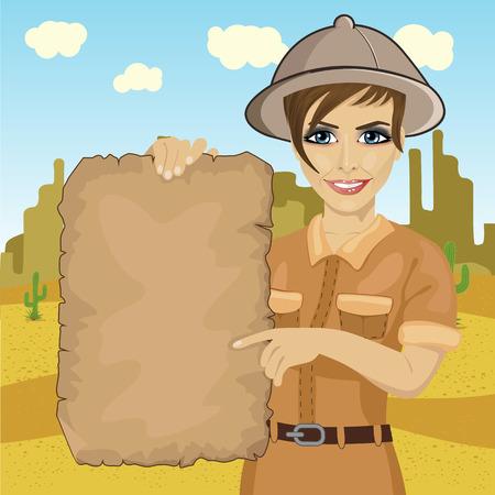 ontdekkingsreiziger vrouw met hoed met een schatkaart in de woestijn Vector Illustratie