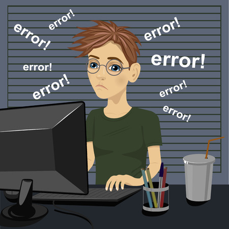 frustration: young sad teenager confused and being in bad temper with error message on pc computer Illustration