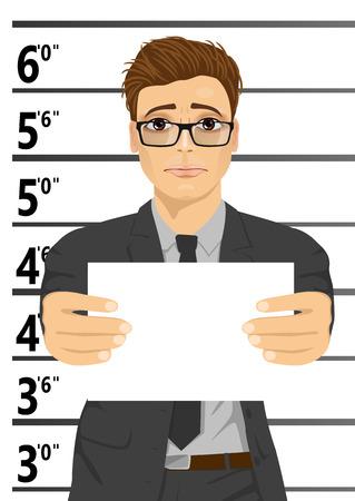 Arrested businessman posing for a mugshot holding a signboard  イラスト・ベクター素材