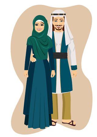 thobe: Arab muslim couple man and woman standing vector illustration