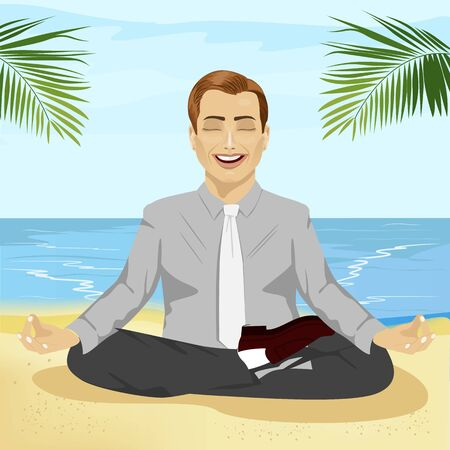young smiling businessman doing yoga on the tropical beach