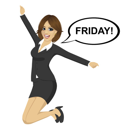 euphoria: Young businesswoman jumping happy with friday text on a speech bubble Illustration