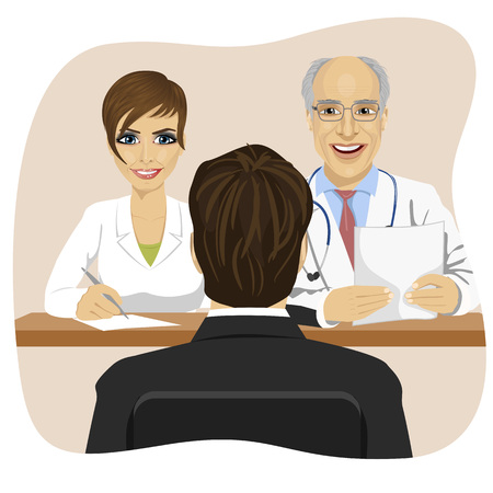 doctor appointment: man sitting opposite mature doctor with assistant sitting at office desk