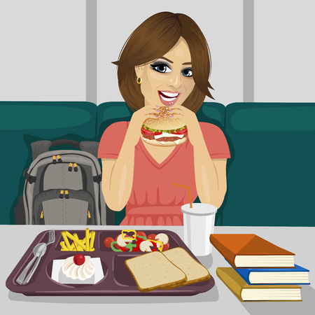 teenagers having fun: young female student having lunch in fast food restaurant smiling Illustration