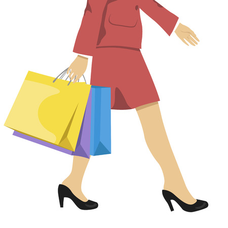 waist down: woman with shopping bags, lower half waist down illustration of legs in high heels and the colorful shopping bags.