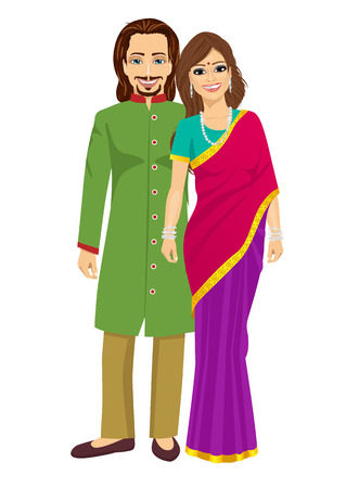 married couples: indian young couple in traditional clothing standing isolated over a white background