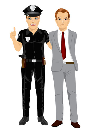 Policeman arresting a businessman. White collar criminal isolated white background